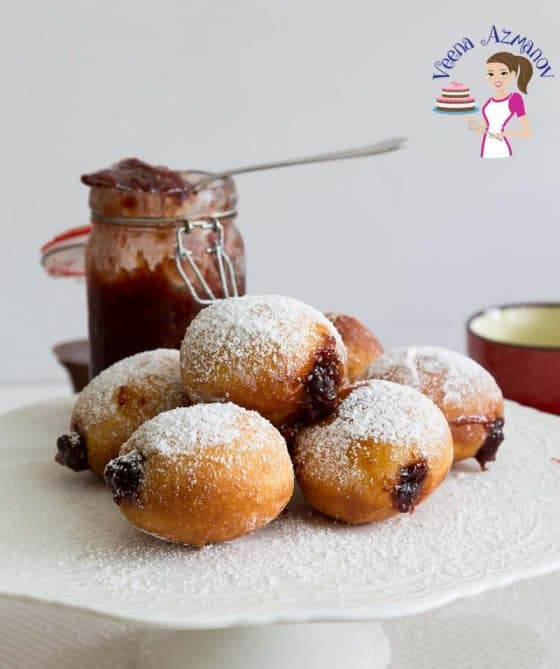 Jelly donuts or Jam doughnuts are deep fried Israeli delicacies made to celebrate Jewish festival fo Hanukah