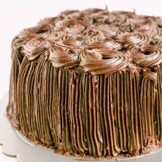 This ultimate Kahlua Buttercream Frosting over Chocolate Chiffon Cake takes only 5 minutes to make.
