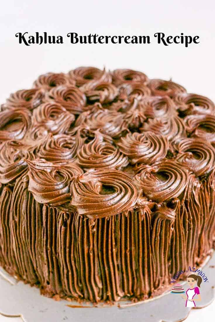 A cake frosted with Kahlua buttercream.