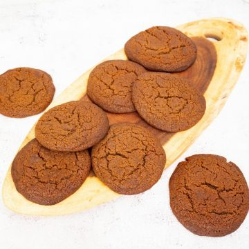 Cookies on a wooden board for molasses cookies