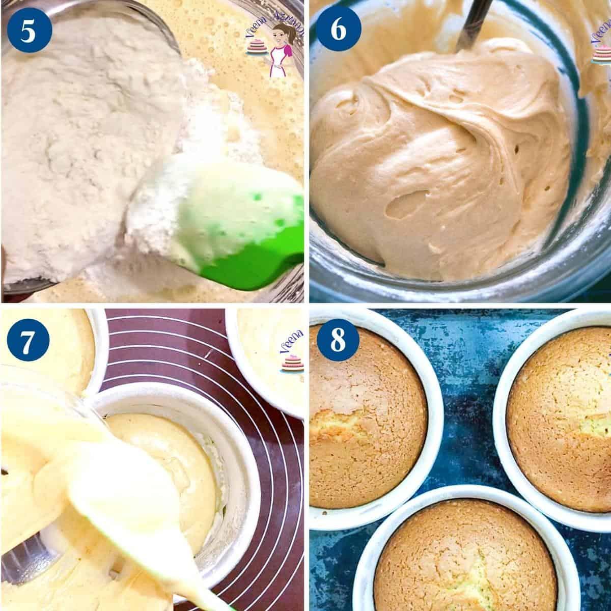Baking a pumpkin cake in cake pans.