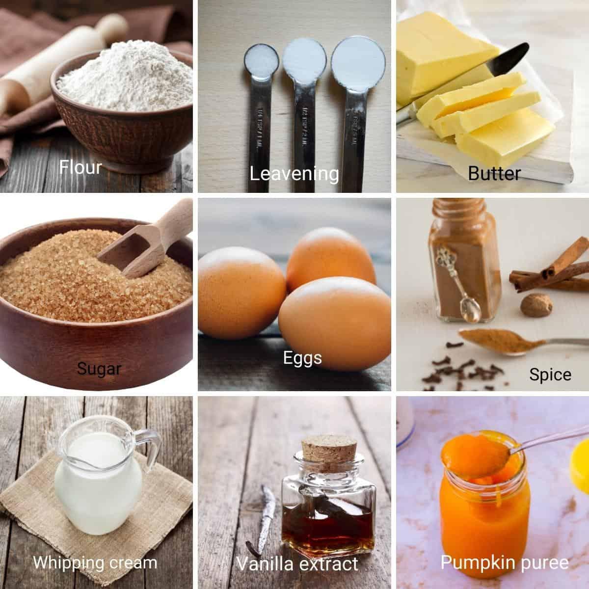 Ingredients for pumpkin cake recipe.