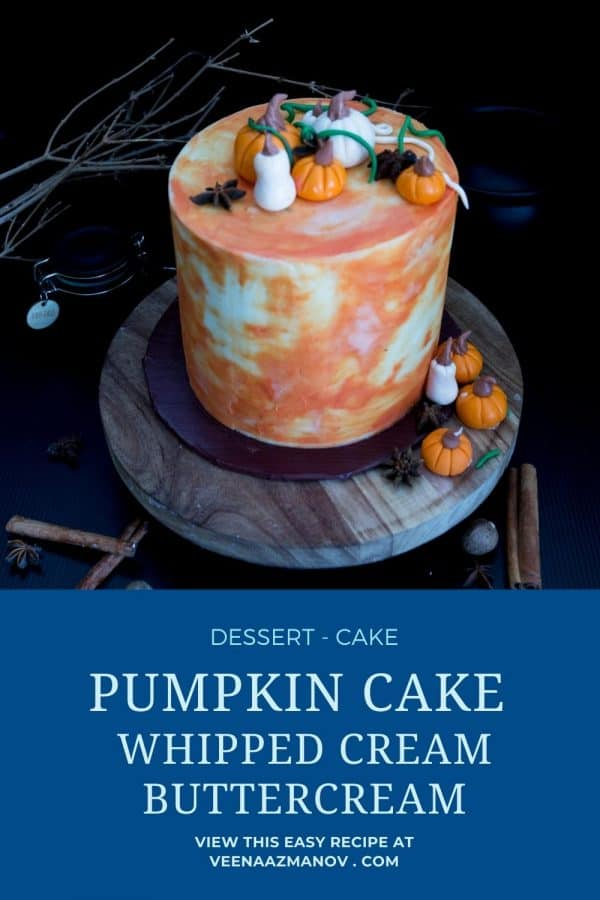 Pinterest image for pumpkin cake with whipped cream buttercream.