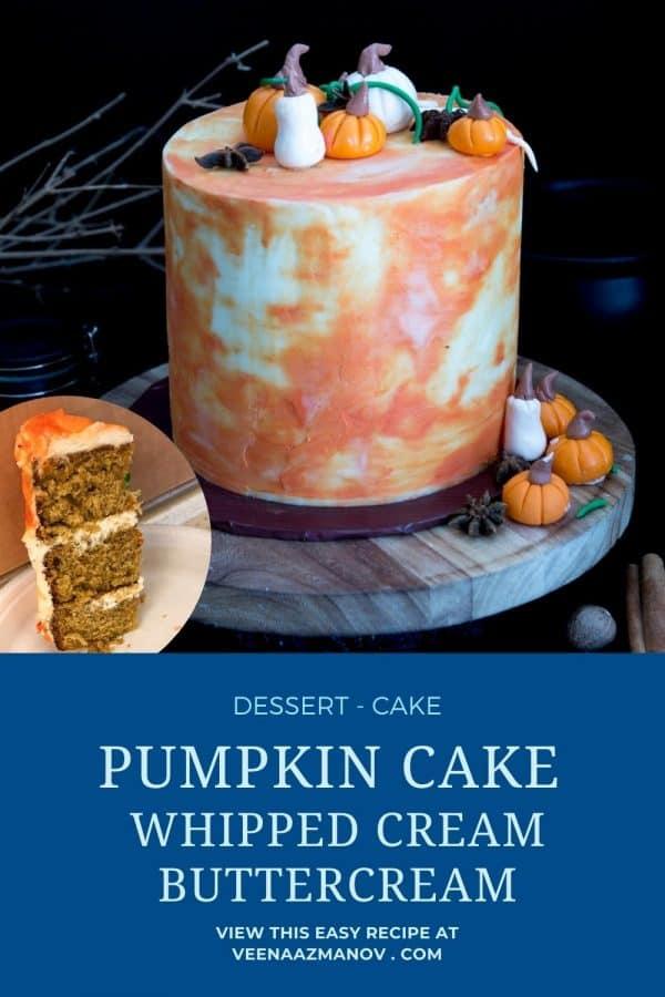 Pinterest image for pumpkin cake recipe.