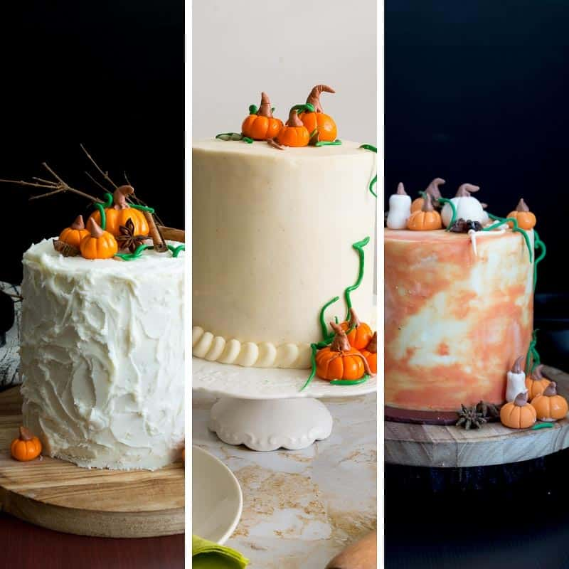 A collection of three pumpkin cakes pumpkin spice, pumpkin spice latte and pumpkin cream cake.