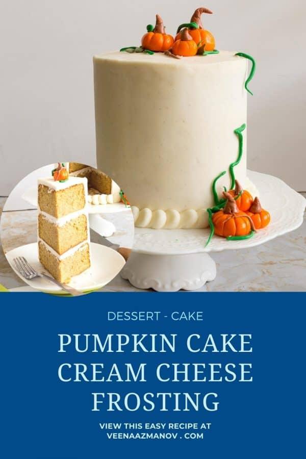 Pinterest image for pumpkin cake.
