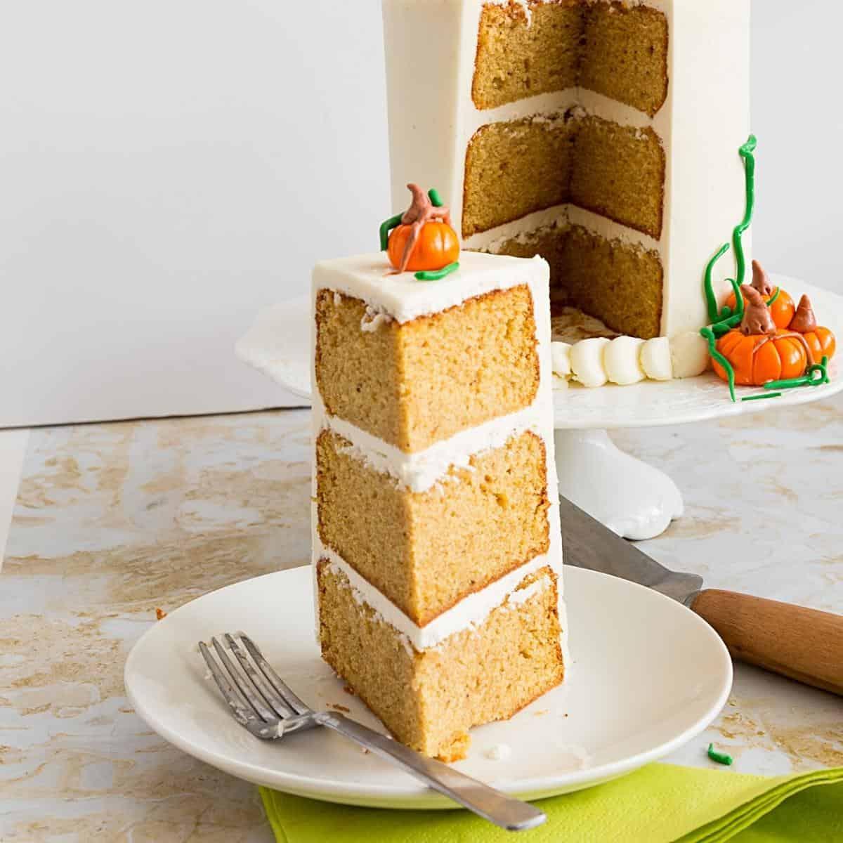 A slice of pumpkin cake.