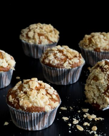 Muffins with crumbles oats on top.