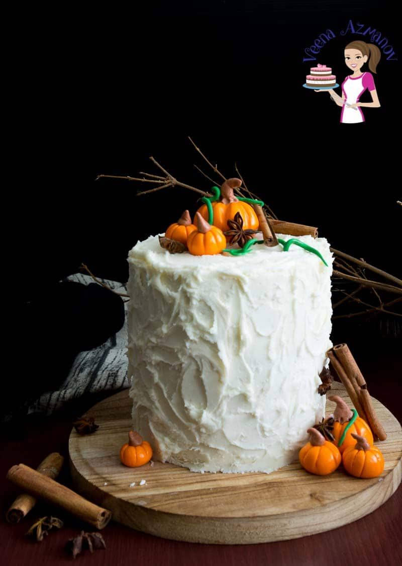 Celebrate the season of fall with pumpkin spice latte cake and maple buttercream frosting.