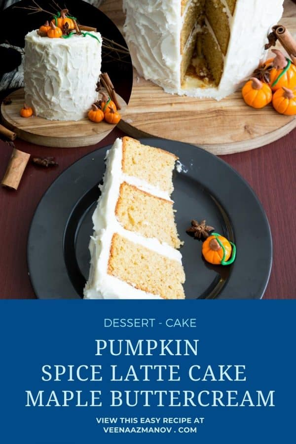 Pinterest image for pumpkin spice latte cake.