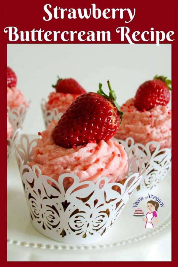 Cupcakes with strawberry buttercream frosting.