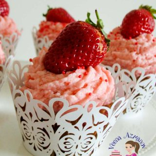 Fresh Strawberry, strawberry buttercream frosting recipe for cakes, cupcakes or macarons.