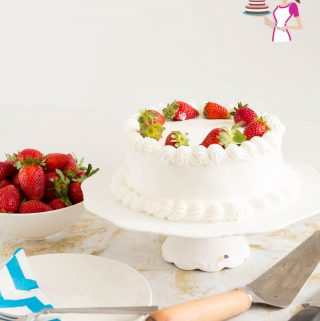How to make a layered Strawberry cake with Whipped Cream Frosting and Fresh Strawberries