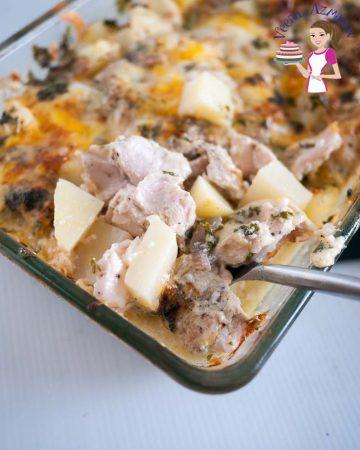 A close up of chicken and potato casserole.