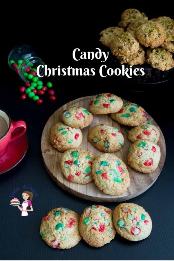 A stack of Christmas cookies on a round board.