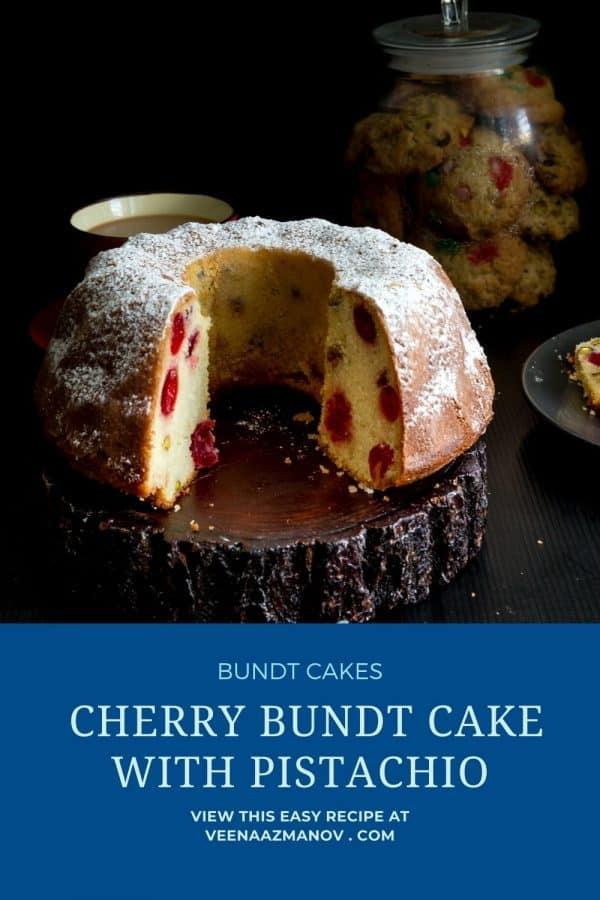 Pinterest image for cherry bundt cake.