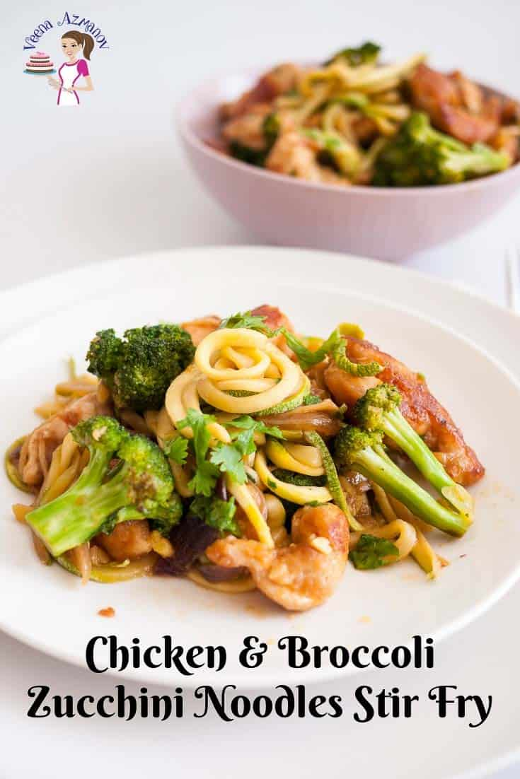 A plate with chicken and broccoli stir fry