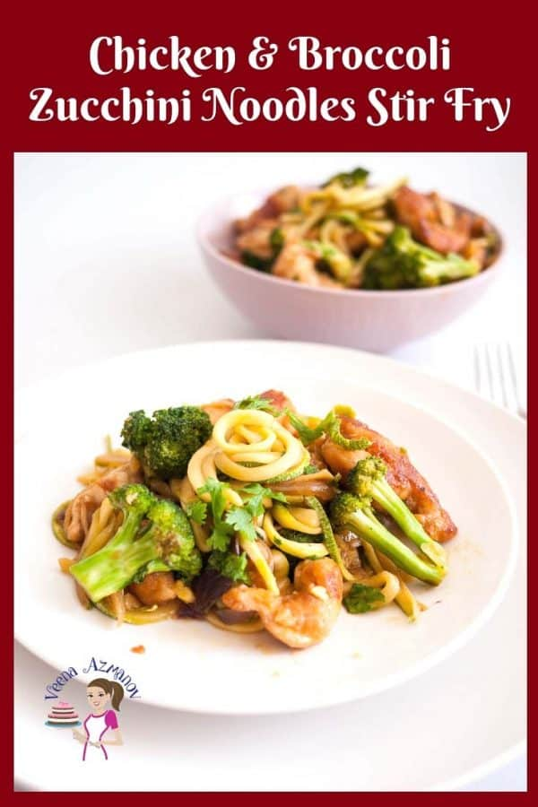 A plate with stir fried chicken broccoli and zucchini noodles.