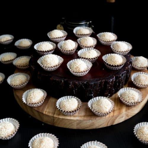 Mini truffle cups with coconut balls
