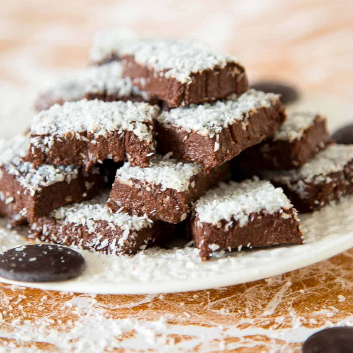 A stack of fudge on a plate