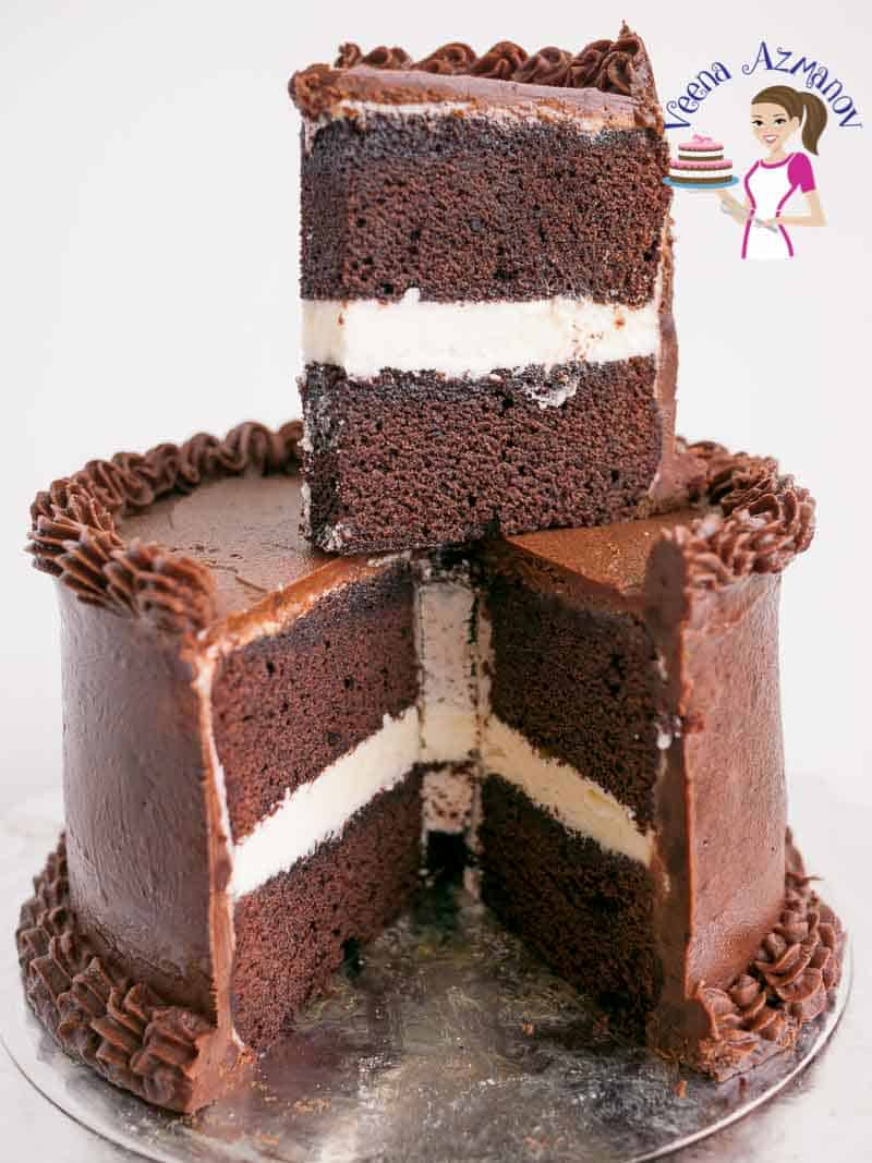 A rich, moist and decadent Devils Food Chocolate Cake filled with Vanilla Buttercream and frosted with Chocolate Ganache