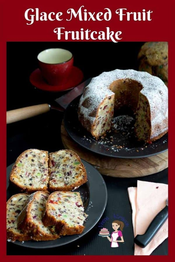 A deliciously most glace mixed fruit bundt cake also called tutti frutti cake or candied fruit peel fruitcake recipe