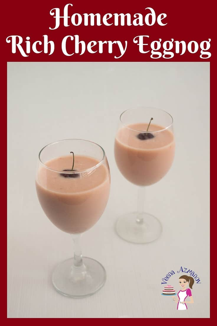 Give your classic eggnog a delicious cherry twist. This homemade cherry eggnog is made from scratch with cherry liquor. Perfect to celebrate the holidays with family and friend #eggnog #cherry #liquor #holidays #Christmas via @Veenaazmanov