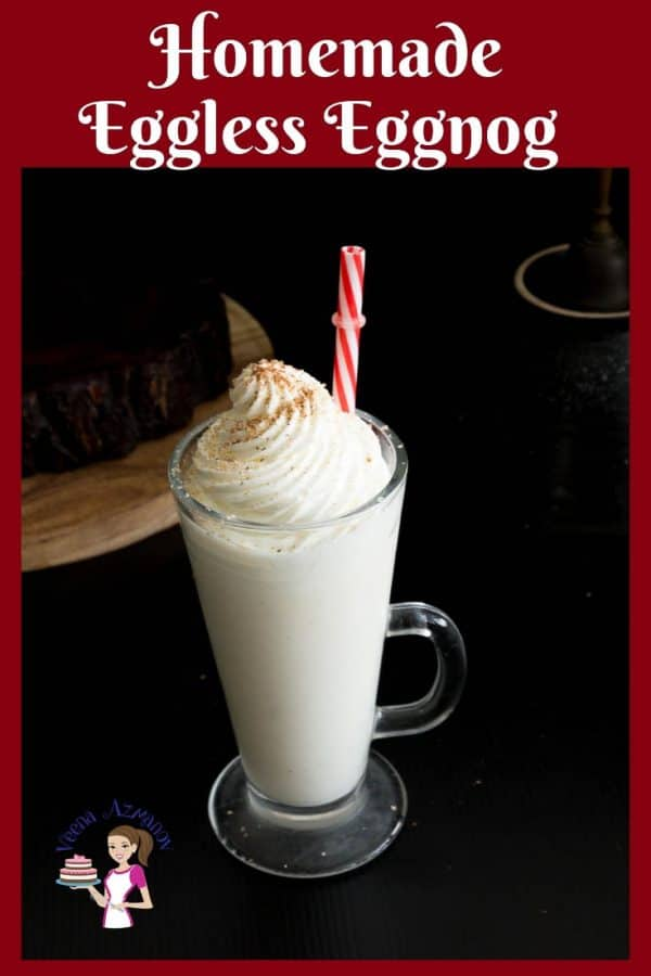 An eggless twist to the classic eggnog with this Homemade Eggless Eggnog Recipe made from scratch without vanilla pudding.