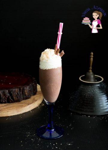 A glass of hot chocolate eggnog.