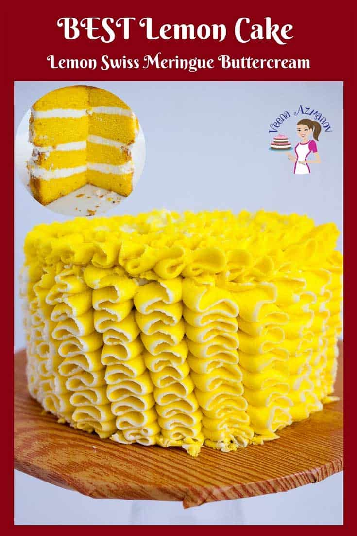 A lemon cake with lemon buttercream frosting.