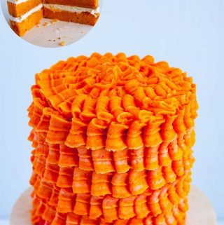 A butter-based light and airy orange cake with orange Swiss meringue buttercream take 10 minutes to mix and 25 minutes to bake.