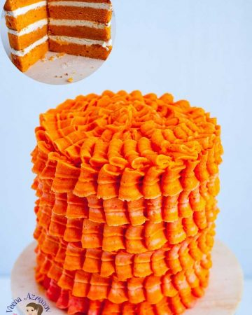 Orange cake with buttercream frosting.