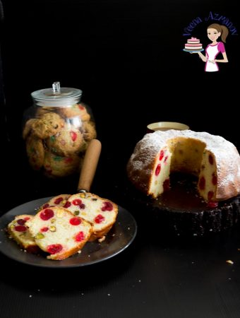 A Pistachio Cherry Bundt Cake make a perfect Christmas Fruitcake with red glace cherries and green pistachio nuts.