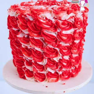 A red velvet buttercream cake.