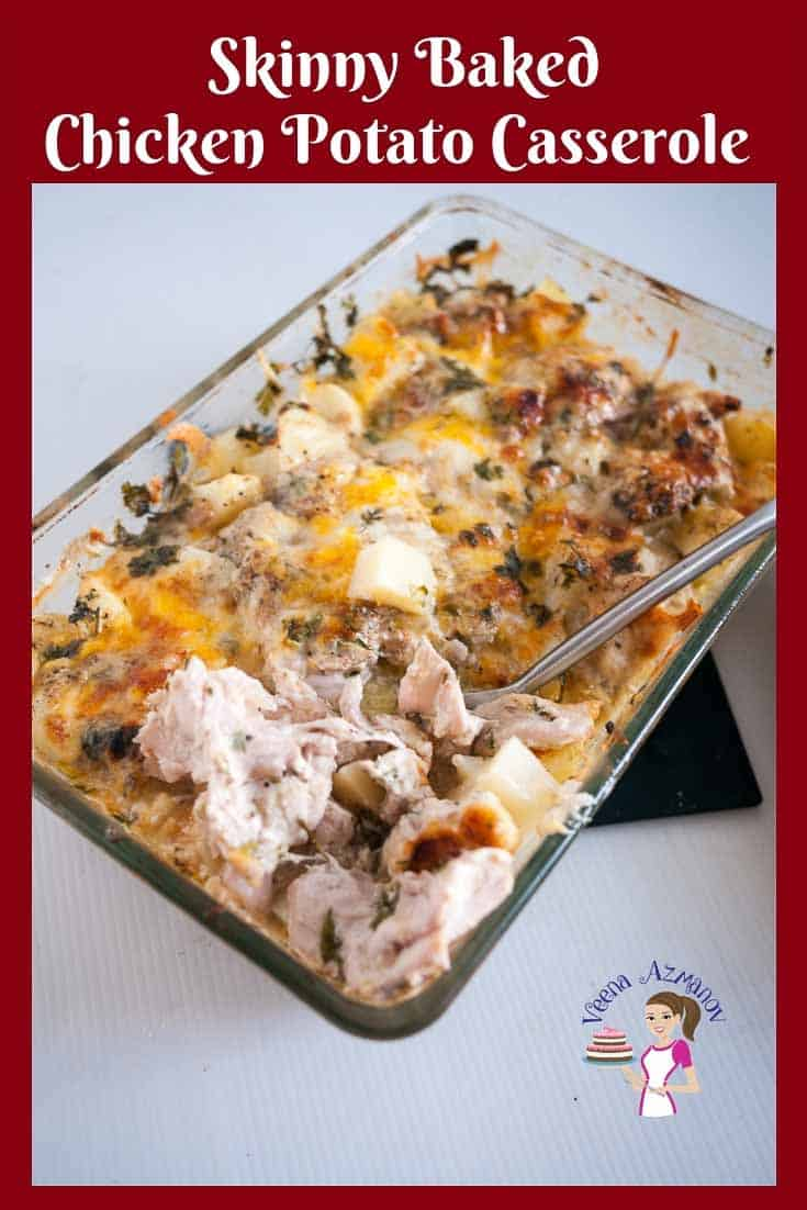 A baking dish with chicken and potato casserole.