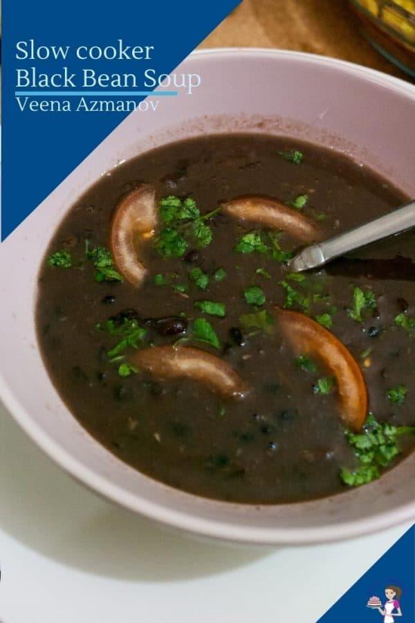 Pinterest friendly image for black bean soup