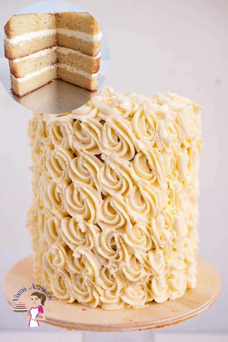 A white wedding cake decorated with buttercream.
