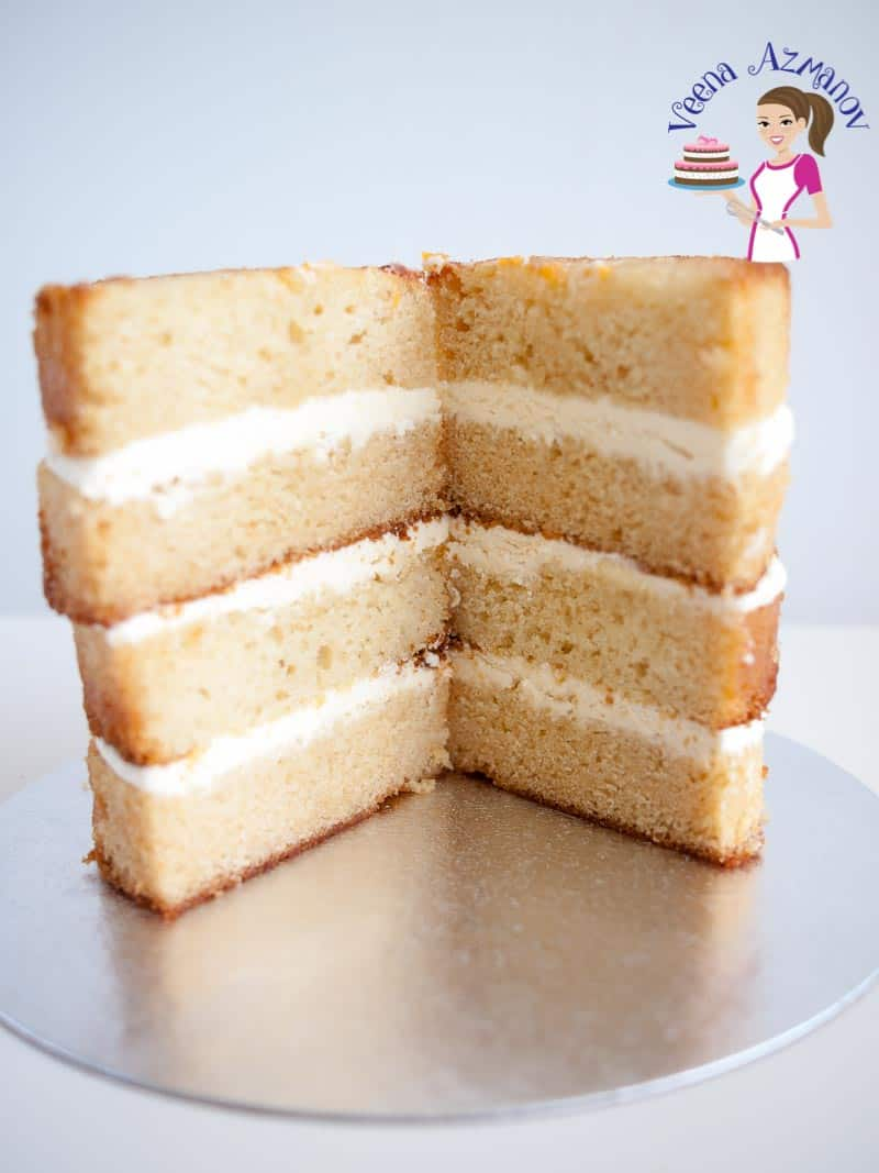 Sliced layers of cake.