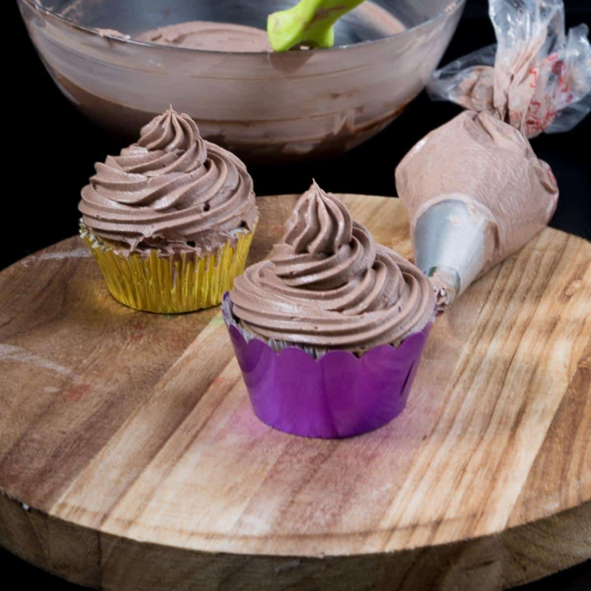A frosted chocolate cupcakes.