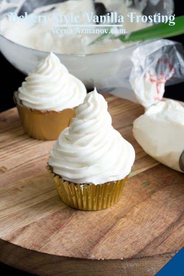 A frosted cupcakes with bakery frosting.