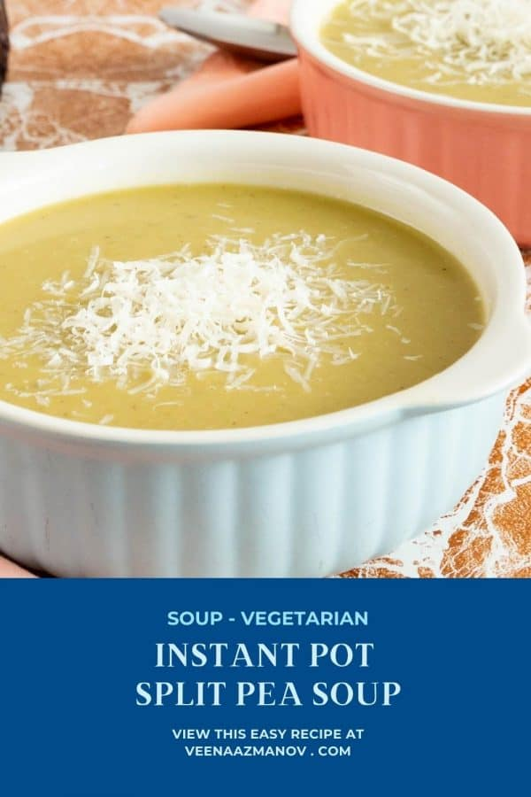 Pinterest image for instant pot soup with split peas.
