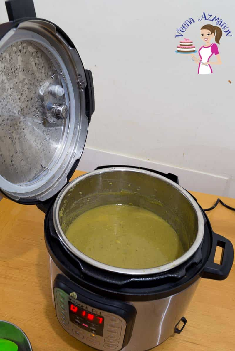 Pea soup being cooked in an instant pot.
