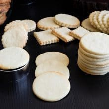 Sugar cookies that do not spread on a black board.