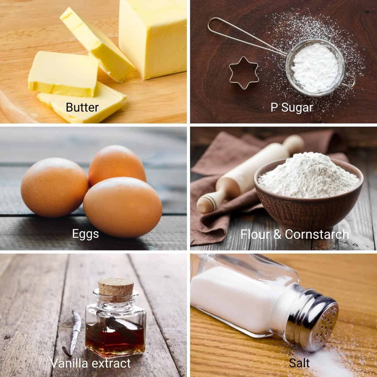 Ingredients for no spread sugar cookies.
