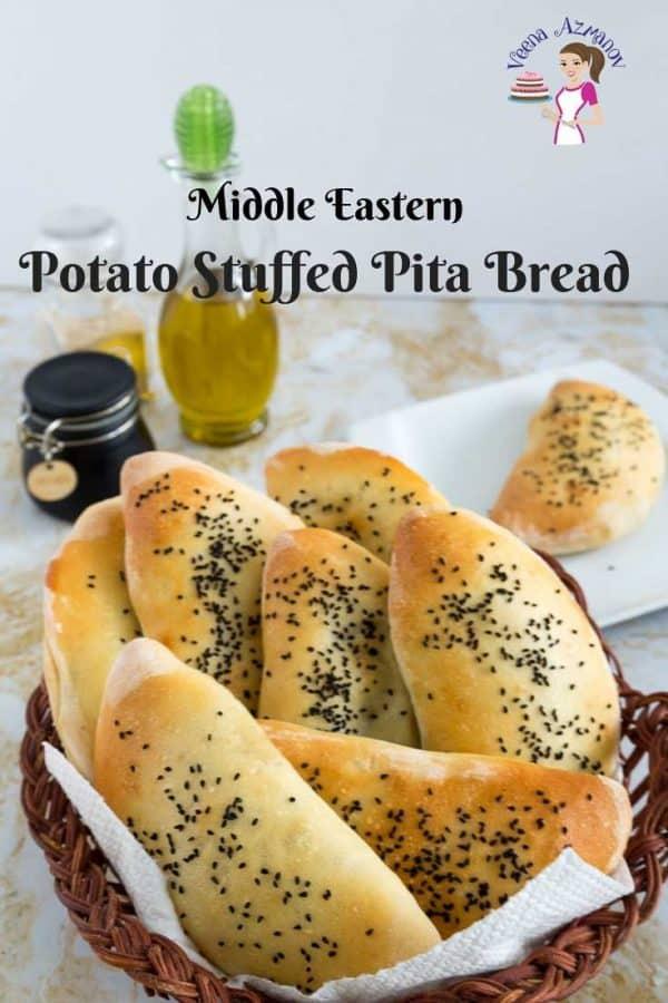 Stuffed pita bread in a bread basket.