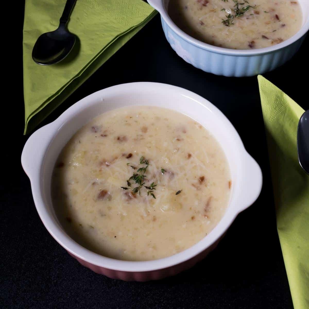 A bowl of potato soup.