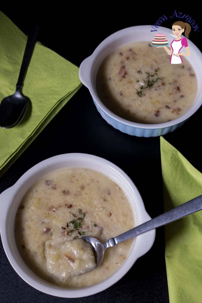 Two bowls of potato soup.