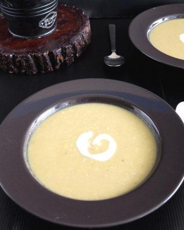 A bowl of split pea soup.