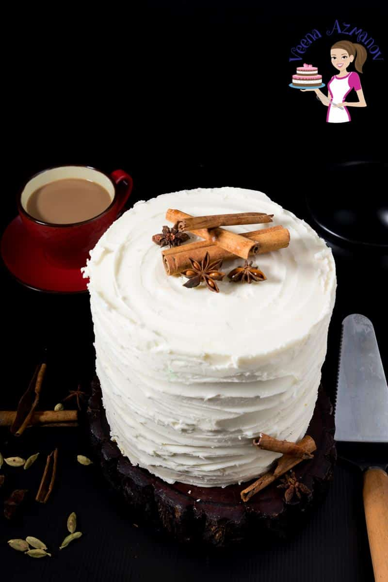 A gorgeous frosted Chai Latte Cake frosted with Vanilla Buttercream Frosting spiced with aromatic Indian chai spices like cinnamon, ginger and cardamom