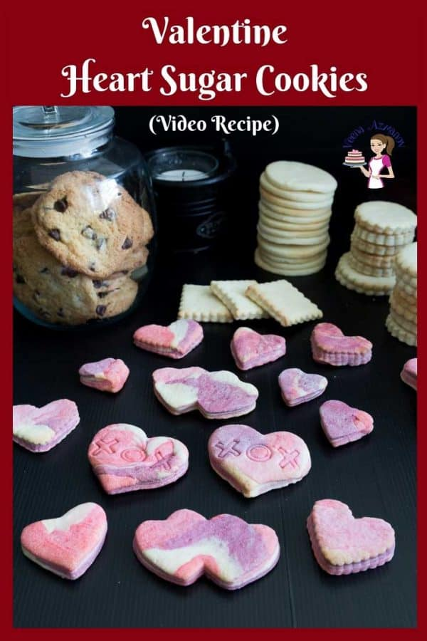 Marbled Sugar Cookies - The valentine heart cookies are made from my NO Chill Sugar Cookie recipe and do not spread during baking.